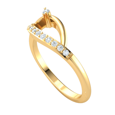 Perfectly Twisted Real Ring Has A Wonderful Arrangement Of White Diamonds 0.13 Ct GH I1 and 14 kt Gold