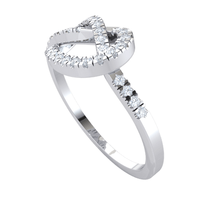 0.32 Ctw Beautifully Twisted Real Ring Embedded With Sparkling White Diamonds in JK I1 10 kt Gold