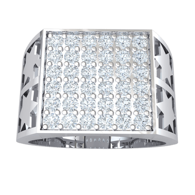 Absolutely Stunning Real Wide Band Ring With A Detailed Band And Rows Of Beautiful White Diamonds 1.19 Ct J SI2 and 10 kt Gold