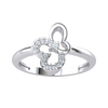 0.09 Ct JK I1-I2 This Timeless Classic Real Ring Has An Artistic Centerpiece With Sparkling White Diamonds in .925 Sterling Silver