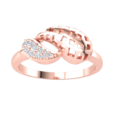 Artistically Crafted Real Ring With An Outstanding Waffle Pattern And Beautiful White Diamonds 0.09 Ct JK I1 and 10 kt Gold