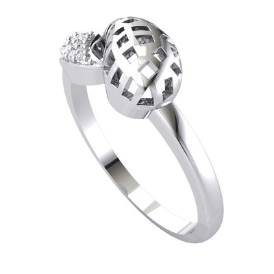 0.09 Ctw Artistically Crafted Real Ring With An Outstanding Waffle Pattern And Beautiful White Diamonds in GH I1 14 kt Gold