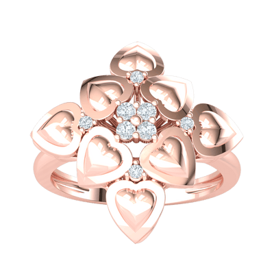 0.09 Ct IJ SI2 Beautiful Ring Arrangement of Heart Shaped Real And Magnificent White Diamonds in 14 kt Gold