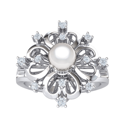 0.14 Ct IJ SI2 Ravishing Ring Arrangement Of White Diamonds And Real With A Beautiful Pearl Centerpiece in 14 kt Gold