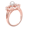 Ravishing Ring Arrangement Of White Diamonds And Real With A Beautiful Pearl Centerpiece 0.14 Ct H SI2 and 18 kt Gold