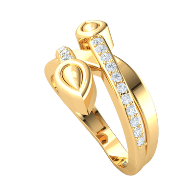 0.31 Ct J SI2 Sparkling White Diamonds Intertwine With Teardrop Shaped Real Band in 10 kt Gold