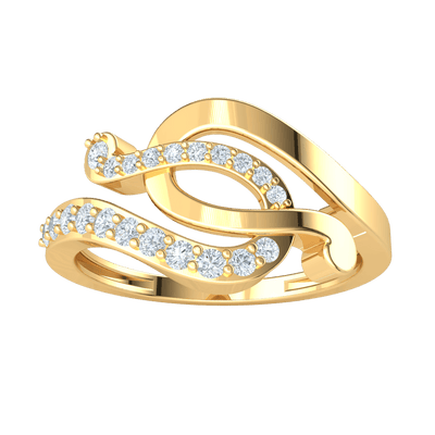 Beautifully Intertwined Real Ring With Horseshoes Swirled Together And Encrusted With White Diamonds 0.27 Ct GH I1-I2 and 10 kt Gold