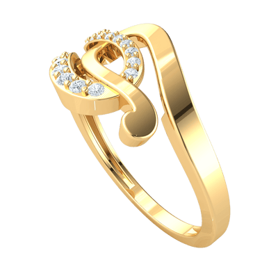 0.27 Ctw Beautifully Intertwined Real Ring With Horseshoes Swirled Together And Encrusted With White Diamonds in IJ SI2 14 kt Gold