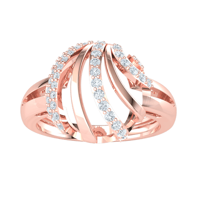 0.39 Ct IJ SI2 Breathe Taking Real Ring With Rows Of And Sparkling White Diamonds in 14 kt Gold