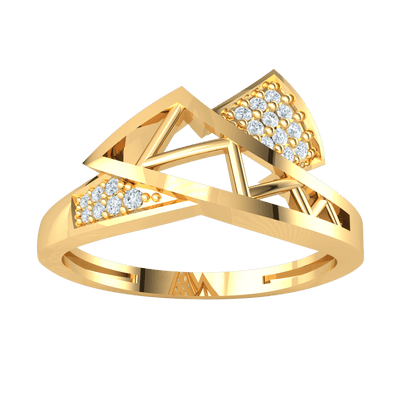 0.09 Ct GH I1-I2 Artistically Crafted Real Ring Intertwined With Beautiful Rows Of White Diamonds in 10 kt Gold