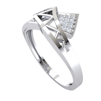 Artistically Crafted Real Ring Intertwined With Beautiful Rows Of White Diamonds 0.09 Ct IJ SI2 and 14 kt Gold