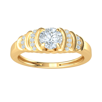 0.58 Ctw Beautiful White Diamond Solitare Inlaid With Rows Of Sparkling Diamonds Set In A Real Band in GH I1-I2 10 kt Gold