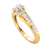 0.91 Ct GH I1-I2 Stunning White Diamond Solitare Inlaid With Diamonds Set In A Diamond Filled Real Band in 10 kt Gold