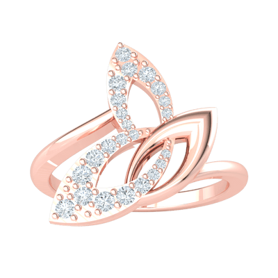 0.24 Ct JK I1 Ravishing 3 Leaf Real Ring Beautifully Accented With White Diamonds in 10 kt Gold