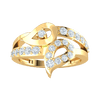 Engaging Reflective Teardrop Real Ring With A Beautiful Arrangement Of White Diamonds 0.49 Ct J SI2 and 10 kt Gold