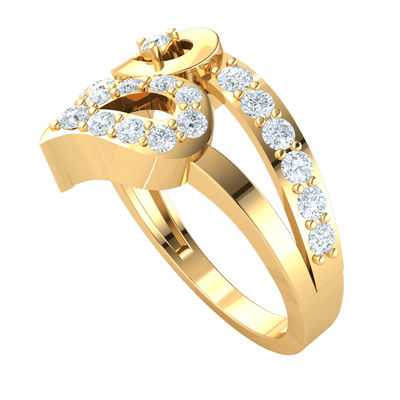 0.49 Ctw Engaging Reflective Teardrop Real Ring With A Beautiful Arrangement Of White Diamonds in IJ SI2 14 kt Gold
