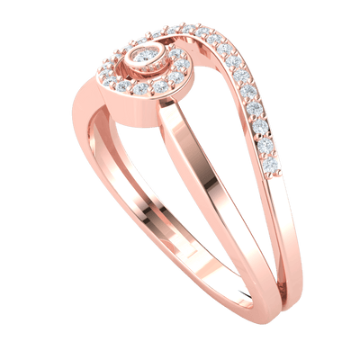 0.15 Ctw Delicately Swirled Real Ring Inlaid With Beautiful White Diamonds in JK I1 10 kt Gold