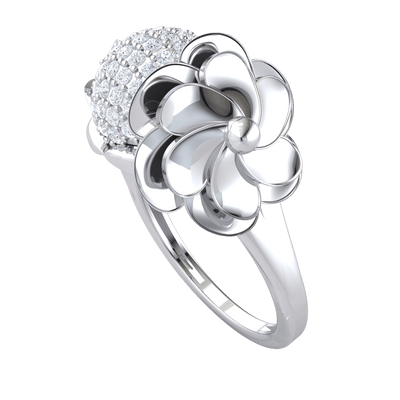 0.64 Ct GH I1-I2 Beautifully Designed Real Ring With A Sparkling White Diamond Centerpiece And Fascinating Decor in 10 kt Gold