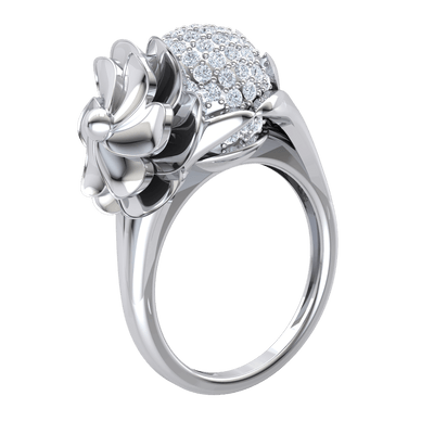 Beautifully Designed Real Ring With A Sparkling White Diamond Centerpiece And Fascinating Decor 0.64 Ct IJ SI2 and 14 kt Gold