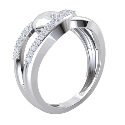 Beautifully Entangled Real Band Enlocked With A Stunning Arrangement Of White Diamonds 0.33 Ct J SI2 and 10 kt Gold