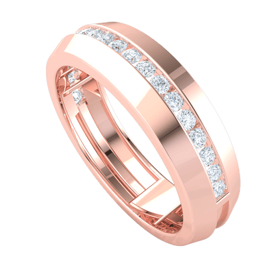 0.45 Ctw Beautiful Real Band Enchanted With A Row Of Sparkling White Diamonds in GH I1-I2 10 kt Gold