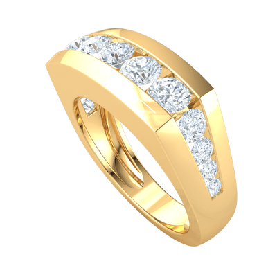 1.93 Ct GH I1-I2 Breathe Taking Display Of Sparkling White Diamonds Set In A Real Wide Band in 10 kt Gold