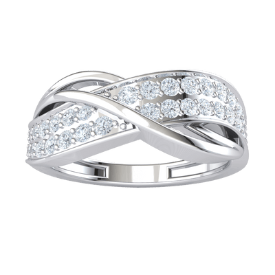 0.53 Ctw Elegant Real Band Encompasses These Beautifully Set White Diamonds in IJ SI2 14 kt Gold