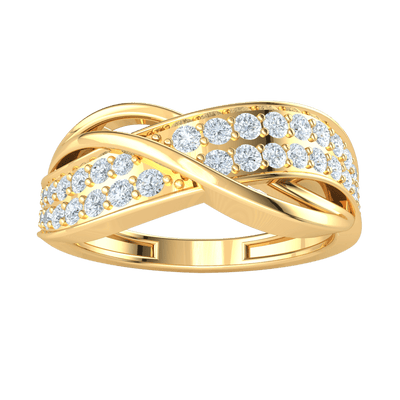 0.53 Ct GH I1-I2 Elegant Real Band Encompasses These Beautifully Set White Diamonds in 10 kt Gold
