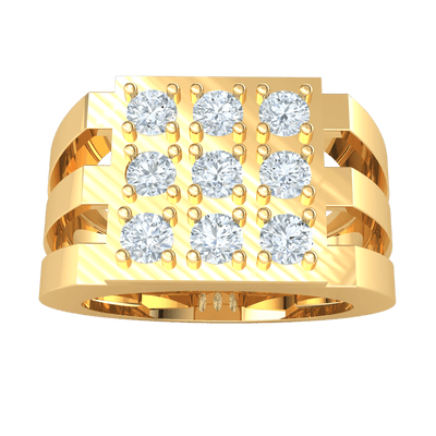 3 Gorgeous Rows Of White Diamonds Set In A Real Wide Band 0.90 Ct IJ SI2 and 14 kt Gold
