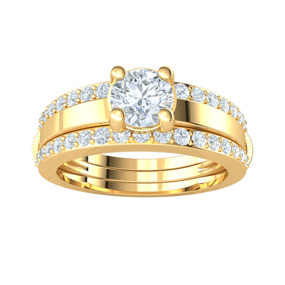 2.66 Ct IJ SI2 Gorgeous White Diamond Solitare Set In Real With 2 Bands Of Sparkling Diamonds in 14 kt Gold