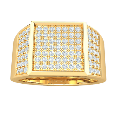 0.85 Ct GH I1-I2 Absolutely Stunning Real Wide Band Ring With Dazzling Square Shaped Centerpiece Enchanted With Rows Of White Diamonds in 10 kt Gold