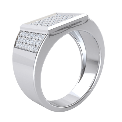 Absolutely Stunning Real Wide Band Ring With Dazzling Square Shaped Centerpiece Enchanted With Rows Of White Diamonds 0.85 Ct IJ SI2 and 14 kt Gold