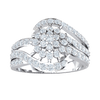 0.80 Ctw Beautiful 7 Stone White Diamond Centerpiece Surrounded By Sparkling Diamonds Wrapped In A Diamond Encrusted Real Triple Band in IJ SI2 14 kt Gold