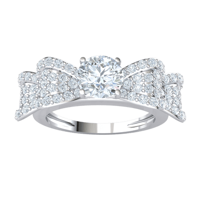 Glamerous White Diamond Solitare Ring Enchanted By A Real Bow Encrusted With Beautiful Diamonds 1.69 Ct GH I1-I2 and 10 kt Gold