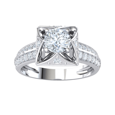 0.82 Ctw Enchanting White Diamond Solitare Set In A Real Square With A Beautiful Diamond Arrangement And Exquisite Diamond Double Row Band in GH I1-I2 10 kt Gold