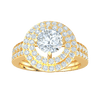 1.55 Ct IJ SI2 Gorgeous White Diamond Solitare Surrounded By 2 Rows Of Sparkling Diamonds And Double Row Diamond Real Band in 14 kt Gold