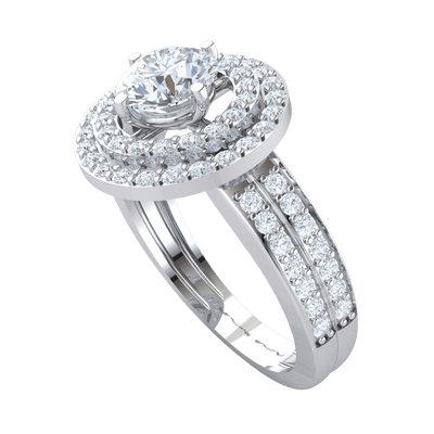 1.55 Ctw Gorgeous White Diamond Solitare Surrounded By 2 Rows Of Sparkling Diamonds And Double Row Diamond Real Band in J SI2 10 kt Gold
