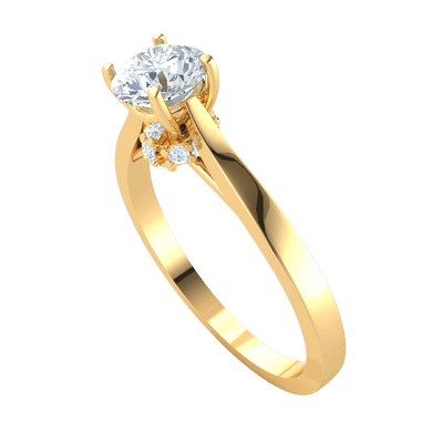 0.36 Ctw Absolutely Stunning White Diamond Solitare Set On A Beautiful Real Band in IJ SI2 14 kt Gold