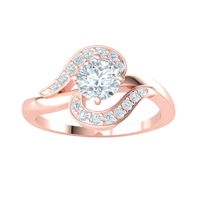 0.42 Ct IJ SI2 Exquisite White Diamond Solitare Ring Set In Real Enchanted By Beautiful Diamonds in 14 kt Gold