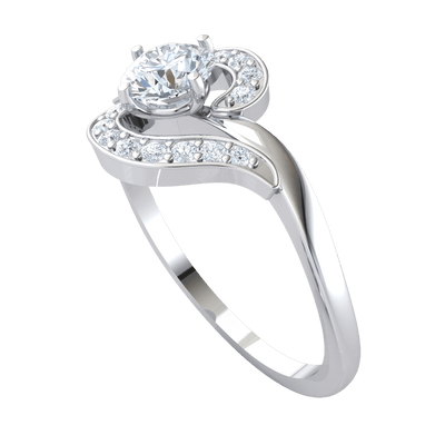 0.42 Ctw Exquisite White Diamond Solitare Ring Set In Real Enchanted By Beautiful Diamonds in GH I1-I2 10 kt Gold