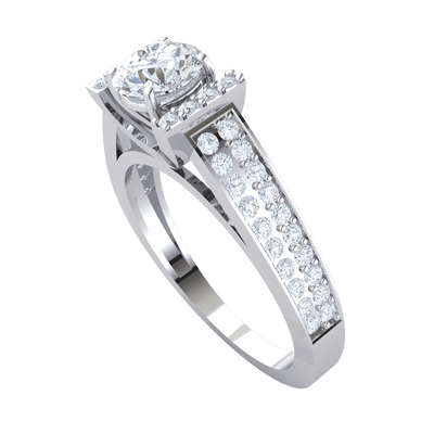 Gorgeous White Diamond Solitare Ring Set In Real Surrounded By Beautiful Rows Of Diamonds And A Diamond Encrusted Band 1.18 Ct FG VS2 and 18 kt Gold