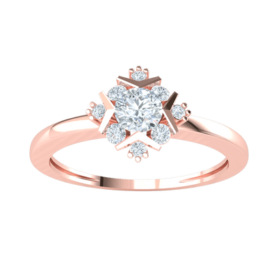 0.34 Ct IJ SI2 Elegant White Diamond Solitare Surrounded By A Perfect Arrangement Of Diamonds Set In A Real Band in 14 kt Gold