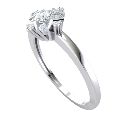 0.34 Ctw Elegant White Diamond Solitare Surrounded By A Perfect Arrangement Of Diamonds Set In A Real Band in J SI2 10 kt Gold