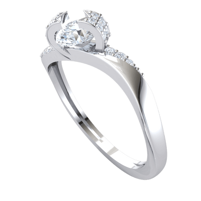 0.61 Ctw Beautiful White Diamond Solitare Wrapped In A Diamond Encrusted Real Band in J SI2 10 kt Gold