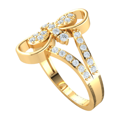 0.41 Ctw Gorgeous Real Infinity Symbol Ring With Beautifully Crafted White Diamond Centerpiece And Diamond Encrusted Band in GH I1-I2 10 kt Gold