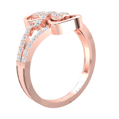 0.41 Ct IJ SI2 Gorgeous Real Infinity Symbol Ring With Beautifully Crafted White Diamond Centerpiece And Diamond Encrusted Band in 14 kt Gold