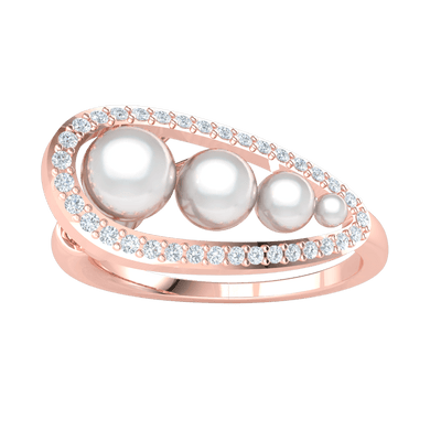 0.18 Ct JK I1 Beautifully Crafted Pearls Surround By Sparkling White Diamonds Set In A Real Ring in 10 kt Gold