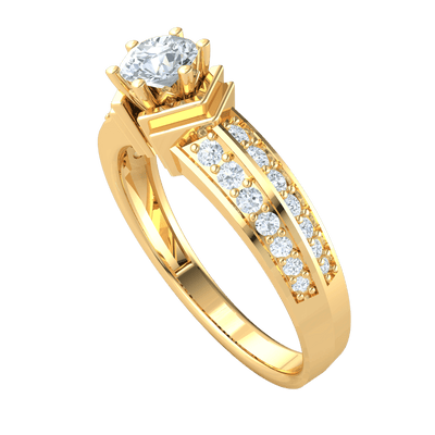 0.65 Ctw Gorgous White Diamond Solitare Ring With A Stunning Double Row Of Diamonds Band in IJ SI2 14 kt Gold