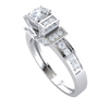 0.67 Ct IJ SI2 Stunning White Diamond Solitare Centerpiece With Diamond Encrusted Rectangles To Both Sides And Beautiful Diamond Band in 14 kt Gold