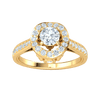 0.70 Ctw Exquisite White Diamond Solitare Surrounded By Sparkling Diamonds And A Diamond Encrusted Band in IJ SI2 14 kt Gold